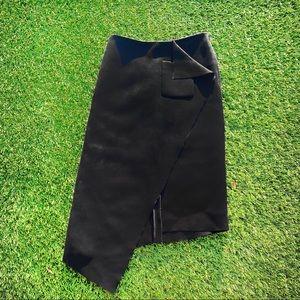 Balenciaga Black Assymetric Bonded- Crepe Skirt
